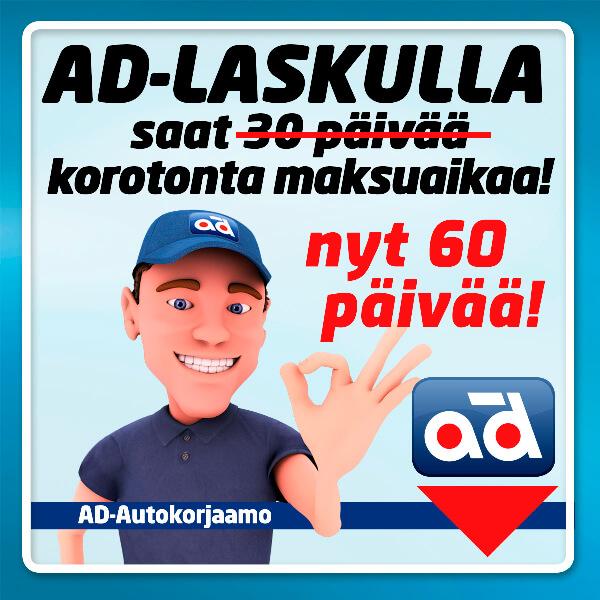 AD laskulla 60 päivää korotonta maksuaikaa